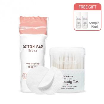 [SET] My Beauty Tool Paper Stick Cotton Swabs + Cotton Pads #Round (80pcs)